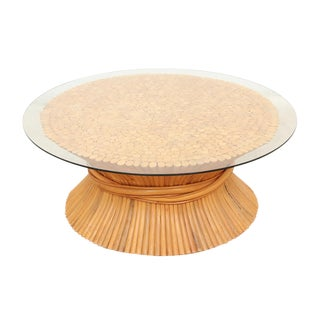 1960s Vintage McGuire Style Sheaf of Wheat Coffee Table For Sale