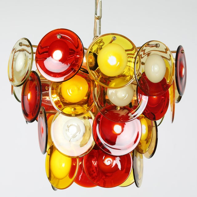 Gino Vistosi / Murano 1960's VINTAGE VISTOSI MURANO GLASS DISC CHANDELIER For Sale - Image 4 of 9