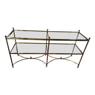 20th Century Hollywood Regency LaBarge Brass Console Table For Sale