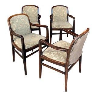 Vintage Mid-Century Modern Rosewood Dining Arm Chairs- Set of 4 For Sale