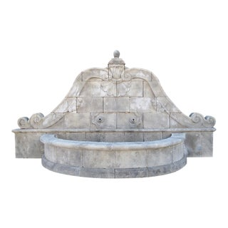 Hand-Carved Limestone Wall Fountain From Southern Italy For Sale