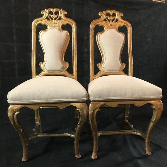 Textile Late 19th Century French Giltwood Chairs- A Pair For Sale - Image 7 of 11