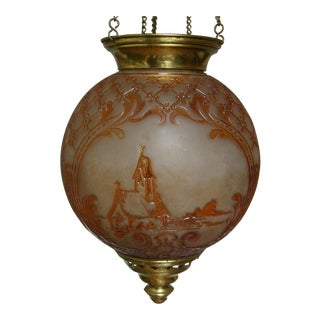 "19th C. Cristalleries De Baccarat Mma Documented ""Baccarat Paris"" Electrified Oil Lantern For Sale"