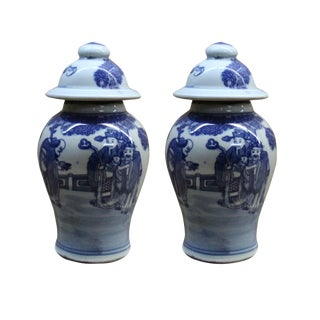 Lot of 2 Chinese Porcelain Blue & White Small Round Lid Jars For Sale