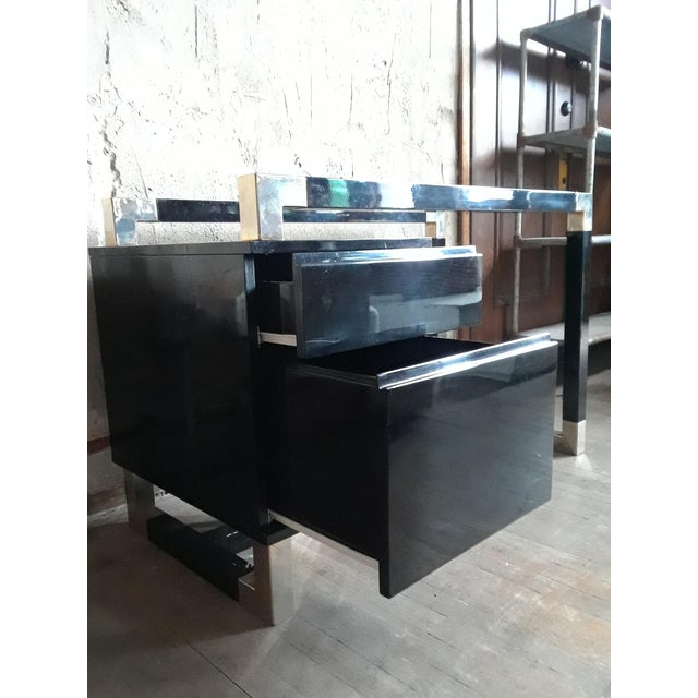Contemporary Black Lacquered Desk With Blue Glass Top For Sale - Image 3 of 7