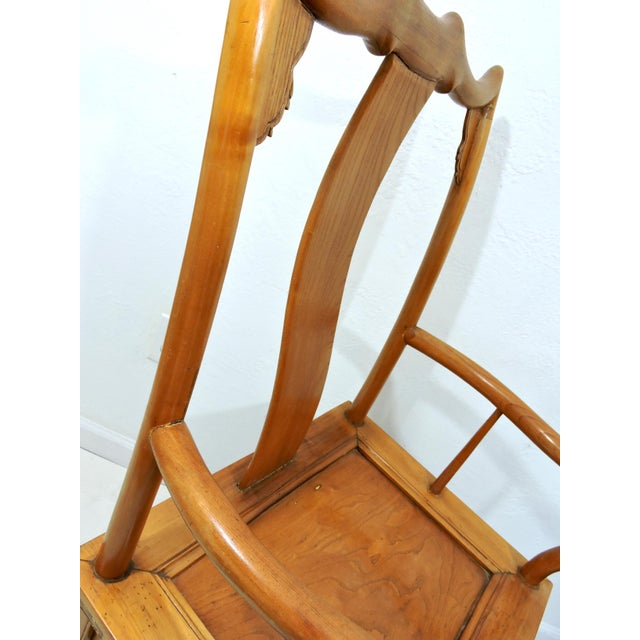 Wood High Back Antique Chinese Officials 'Bat Wing' Chairs - a Pair For Sale - Image 7 of 8