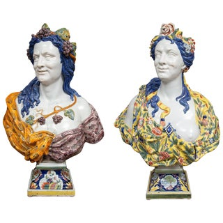 Italian Majolica Busts - a Pair For Sale