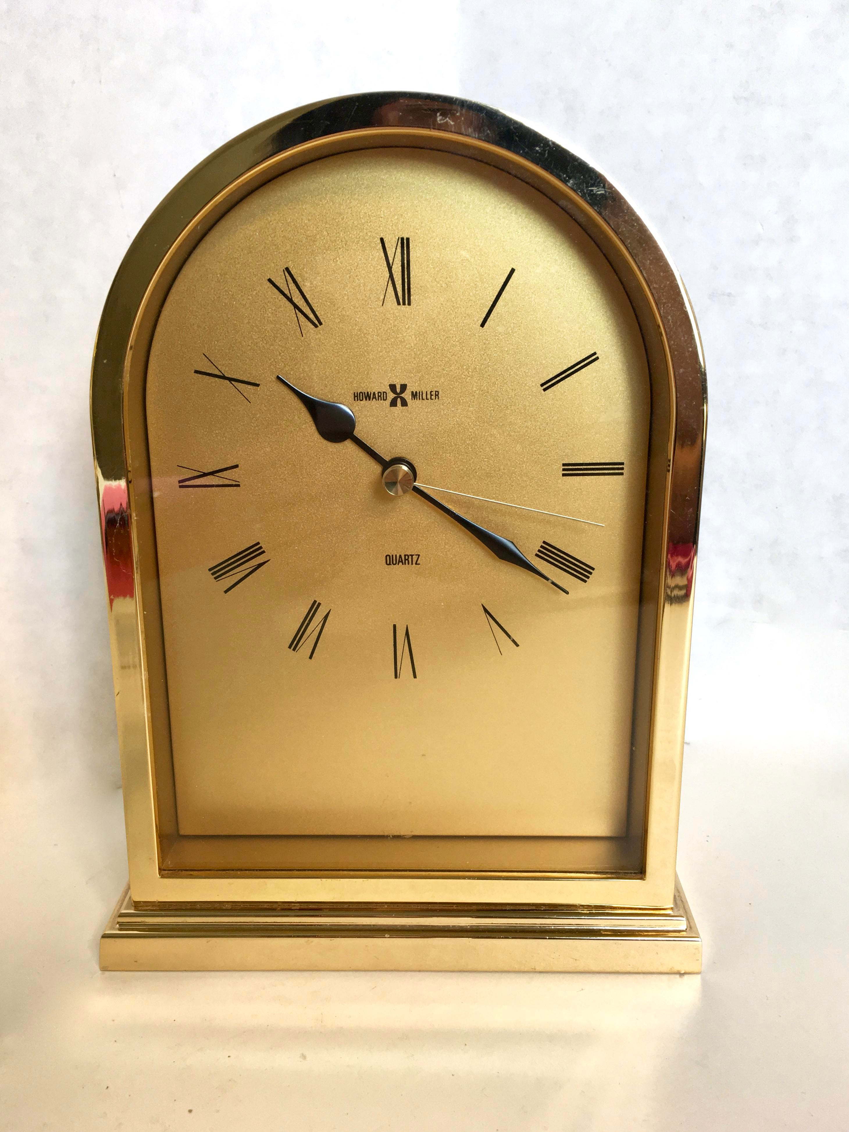 Vintage Howard Miller Brass Clock Chairish