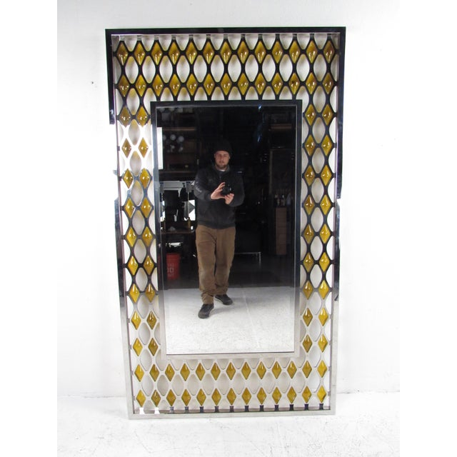 Mid-Century Modern Large Mid-Century Chrome and Amber Blown Glass Mirror For Sale - Image 3 of 8