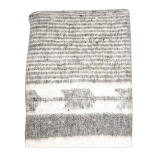Grey & White Wool Blanket For Sale