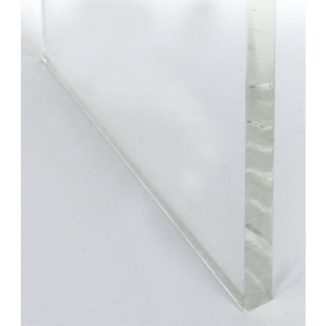 Plastic Custom Lucite Curved Sides Waterfall Table or Bench For Sale - Image 7 of 8