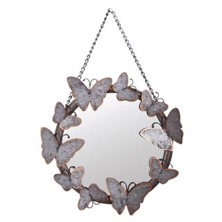 Antiqued Metal Butterfly Mirror