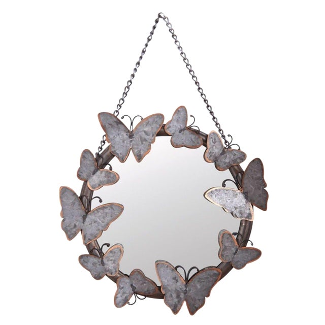 Antiqued Metal Butterfly Mirror - Image 1 of 4