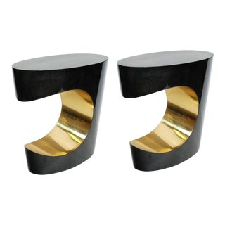 Pair of Parchment and Brass Side Tables For Sale