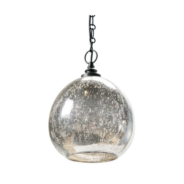Glass Float Pendant in Antique Mercury For Sale In Detroit - Image 6 of 6