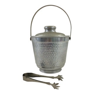 Hammered Aluminum Ice Bucket & Tongs For Sale