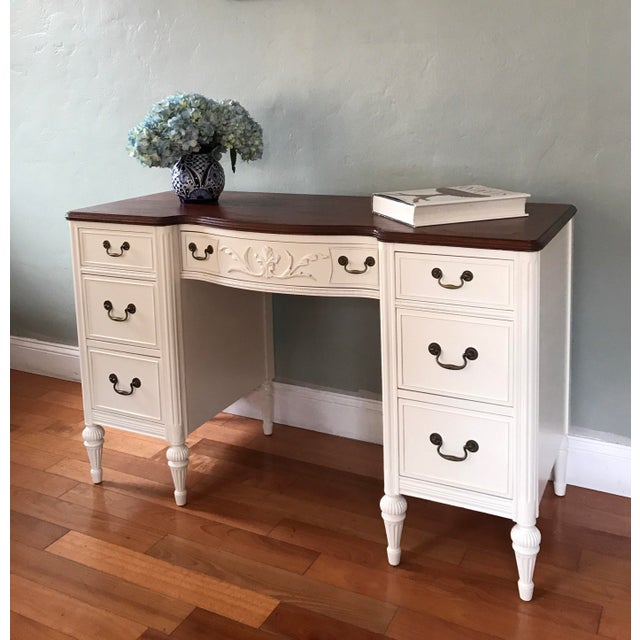 antique white two tone vanity desk chairish 87955