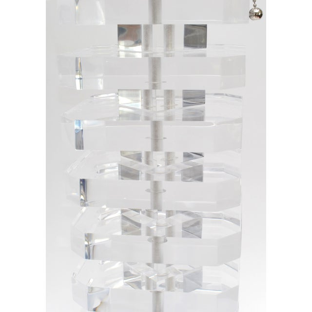 2010s Pair of Stacked Lucite Table Lamps For Sale - Image 5 of 11