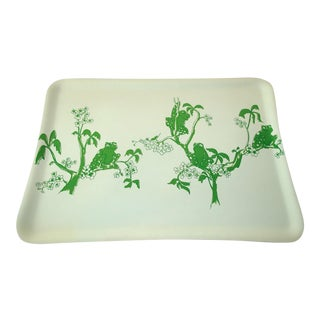 Preppy Green and White Tree Frog Barware Drinks Serving Tray For Sale