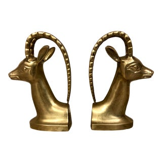 1950's Vintage Brass Antelope Bookends- A Pair For Sale