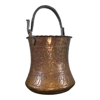 Large Safavid Etched Copper Bucket, Persia, 18th Century For Sale