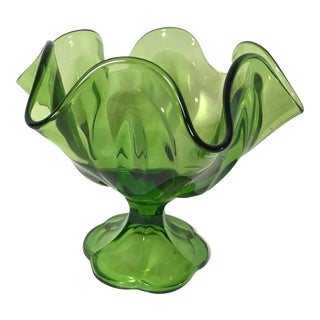 Mid-Century Green Art Glass Tulip Bowl For Sale