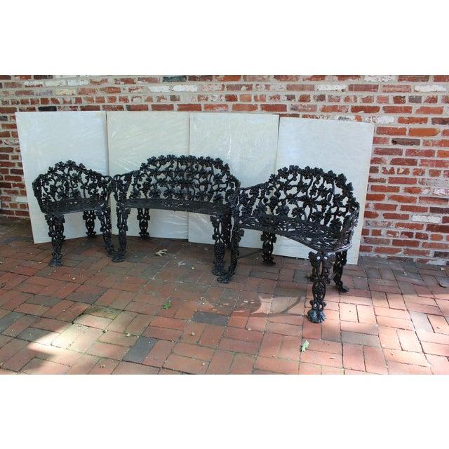 Metal Antique Victorian Cast Iron Grape Vine Garden Set - 3 Pieces For Sale - Image 7 of 7