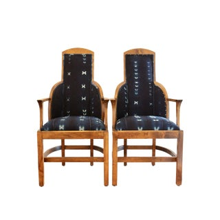 Art Deco Bohemian Indigo Textile Upholstered Dining Chairs - a Pair For Sale