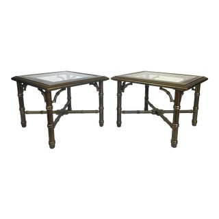 Lane Faux Bamboo Brass Laquered End Tables - Pair For Sale