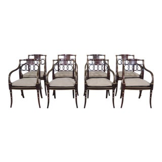 21st Century Vintage Baker Historic Charleston Regency Style Dining Room Arm Chairs- Set of 8 For Sale
