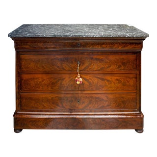 Antique French Louis Philippe Mahogany Veneer Commode With Marble Top For Sale
