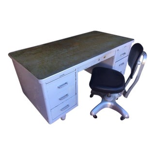 1960s Vintage Art Metal Construction Company Classic Tanker Desk and Tanker Chair For Sale