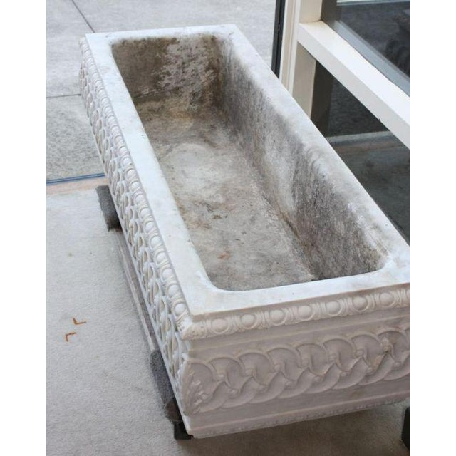 French 19th Century Antique Carved Marble Planter Watering Trough For Sale - Image 3 of 4