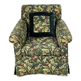 Custom Floral Upholstered Lounge Chair For Sale