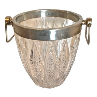 Mid-Century Modern Cut Glass & Silver Plate Ice Bucket For Sale
