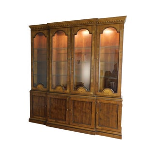 Henredon Large Inlaid Yew Wood Breakfront China Cabinet Bookcase For Sale