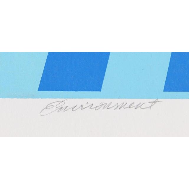 "Op Art ""Environment (Blue)"" Op Art Serigraph by Roy Ahlgren For Sale - Image 3 of 4"