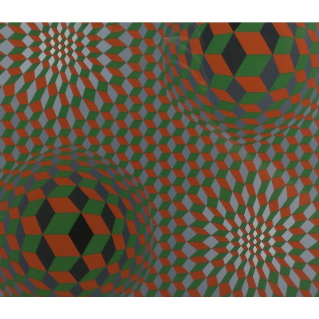 Victor Vasarely - Geometric Abstract - Signed Vintage Serigraph For Sale - Image 4 of 10