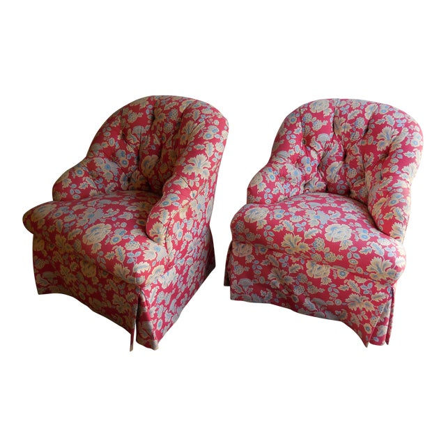 1950s Floral Accent Chairs - A Pair For Sale