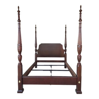 Kincaid Carriage House Collection Solid Cherry Queen Rice Carved Poster Bed Frame For Sale