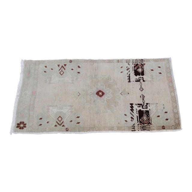 Vintage Turkish Muted Colour Carpet - 3' 5'' X 1' 8'' For Sale