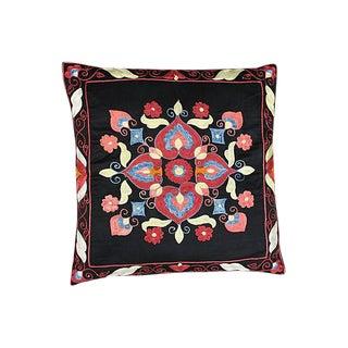 Uzbek Silk-Embroidered Pillow Sham For Sale