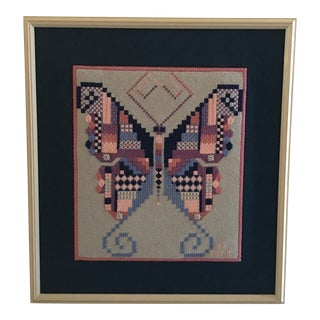 Retro Butterfly Needlepoint Picture For Sale