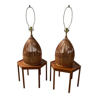 Sculptured Bamboo Rattan Table Lamps - a Pair For Sale
