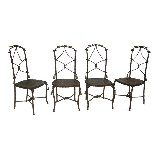 Antique French Cast Iron Garden Cafe Chairs For Sale
