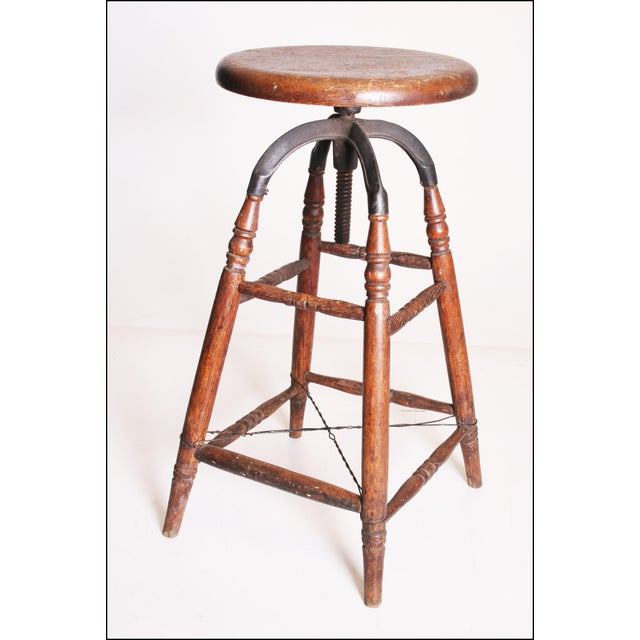Vintage Industrial Wood & Cast Iron Adjustable Counter Stool - Image 2 of 11