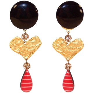 1990's Christian LaCroix Heart Clip on Dangle Earrings For Sale
