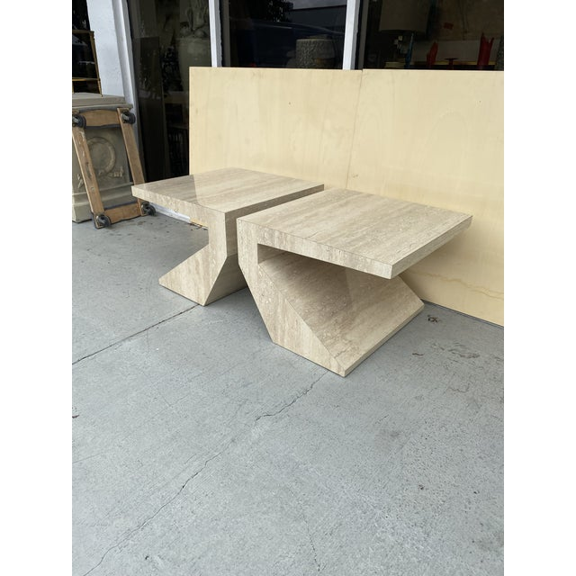 Faux Travertine Geometric Shapes Side Tables a Pair. For Sale - Image 4 of 13