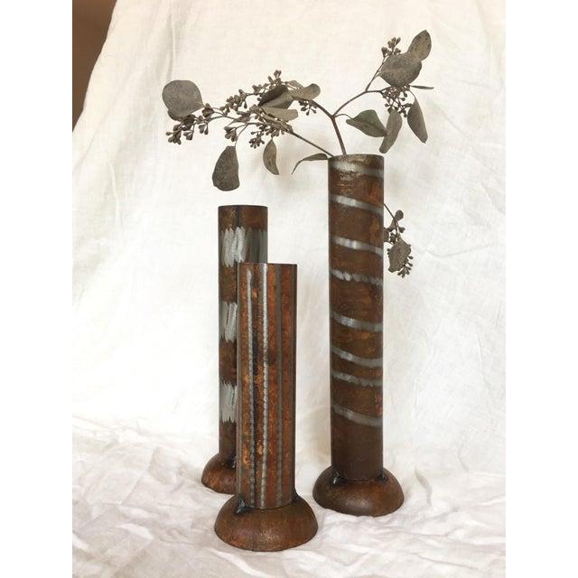 1990s Industrial Modern Vases - Set of 3 For Sale - Image 4 of 10