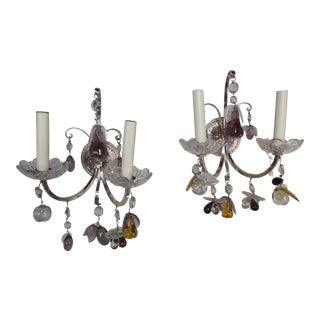 Pair of Silvered Sconces With Crystals & Fruit